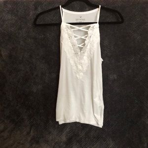American Eagle Outfitters Tops - White High-Neck Crisscross Lace Tank Top!